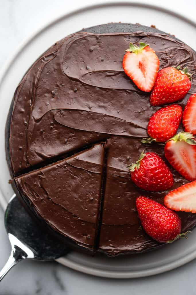 Instant Pot Chocolate Cake with strawberries on top