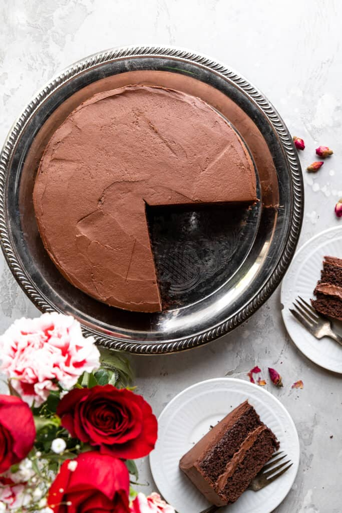 top view of Keto Chocolate Cake with a slice missing