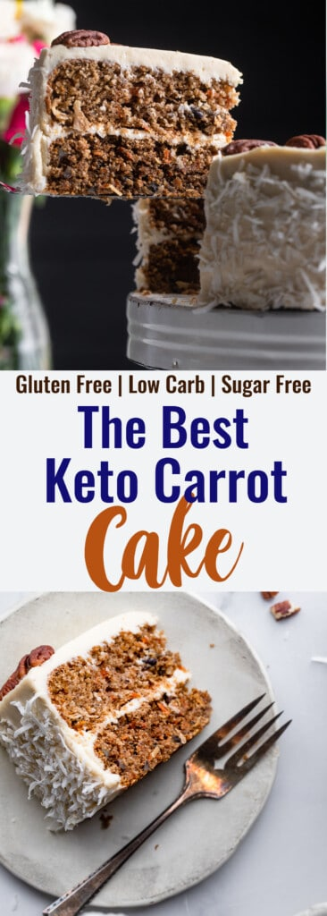 Low Carb Keto Carrot Cake collage photo