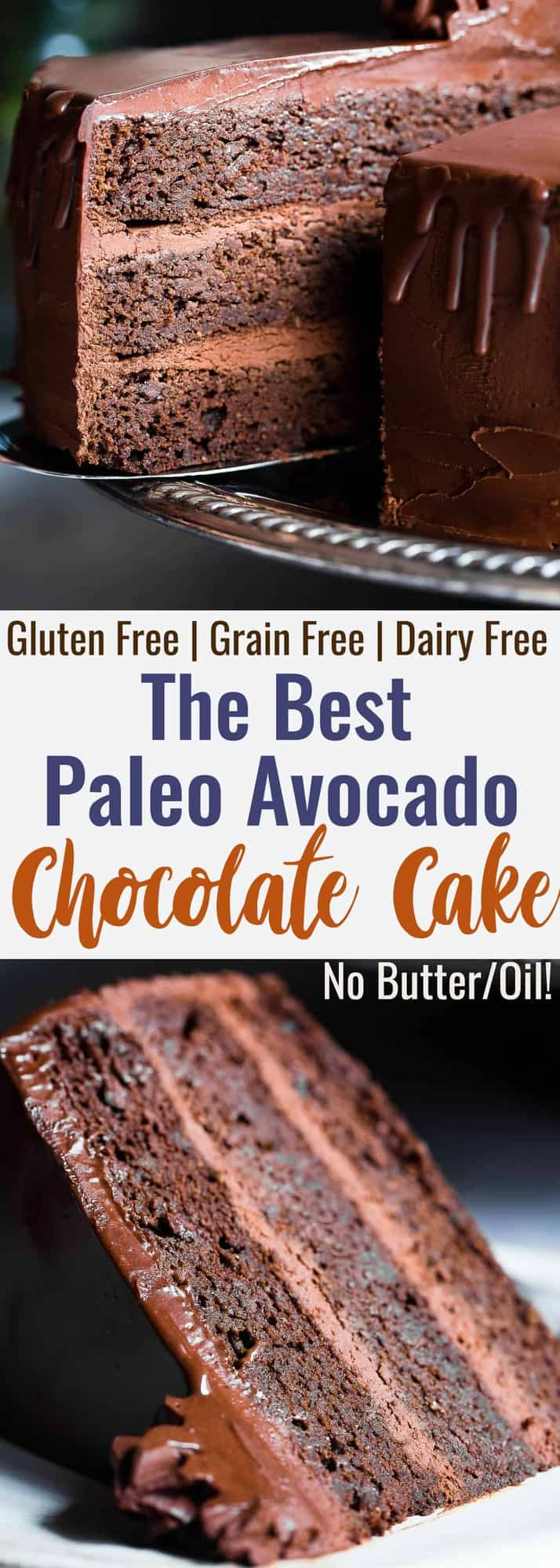 The Best Paleo Chocolate Avocado Cake -This dairy and gluten free Chocolate cake is SO fluffy and moist you'll never believe it's butter/oil free and made with avocado! The BEST healthy chocolate cake you will ever have! | #Foodfaithfitness | #Paleo #Grainfree #Dairyfree #Healthy #cake