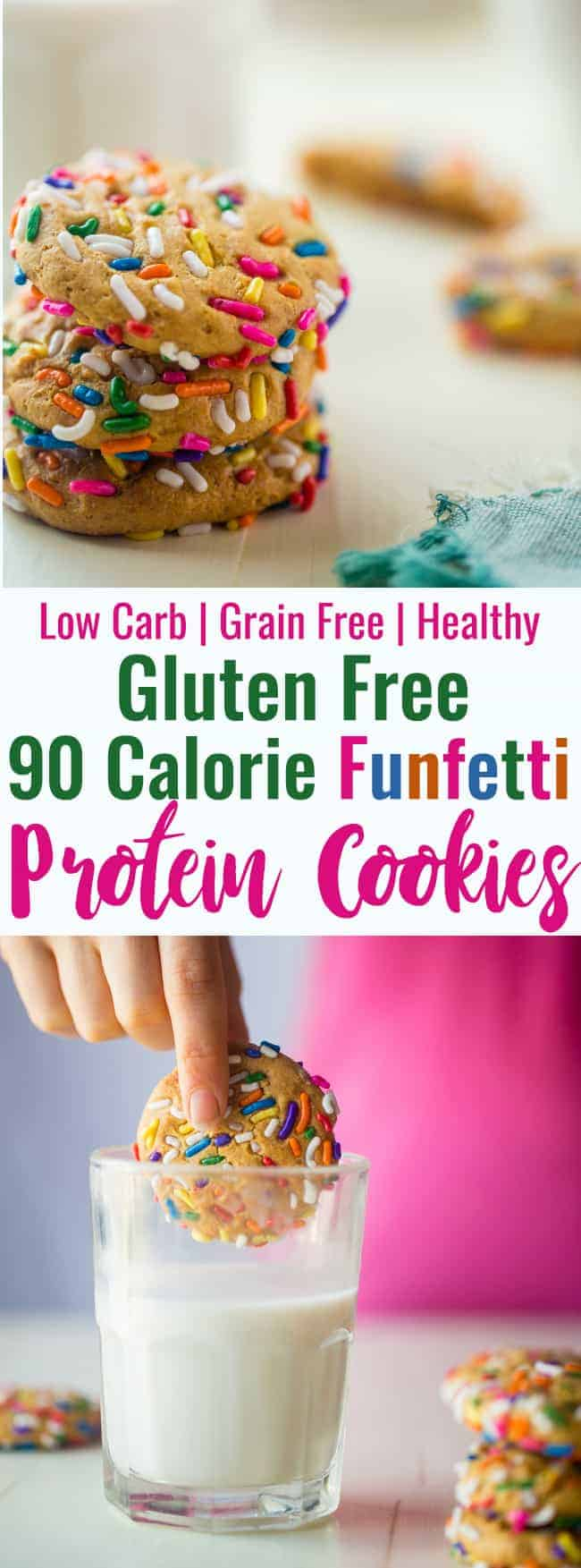 Funfetti Protein Cookies - These quick and easy cookies taste just like funfetti cake! You'll never know they're a healthy, protein-packed and gluten free treat for under 90 calories and 2 Freestyle SmartPoints! | #Foodfaithfit | #GlutenFree #LowCarb #WeightWatchers #Healthy #ProteinPowder