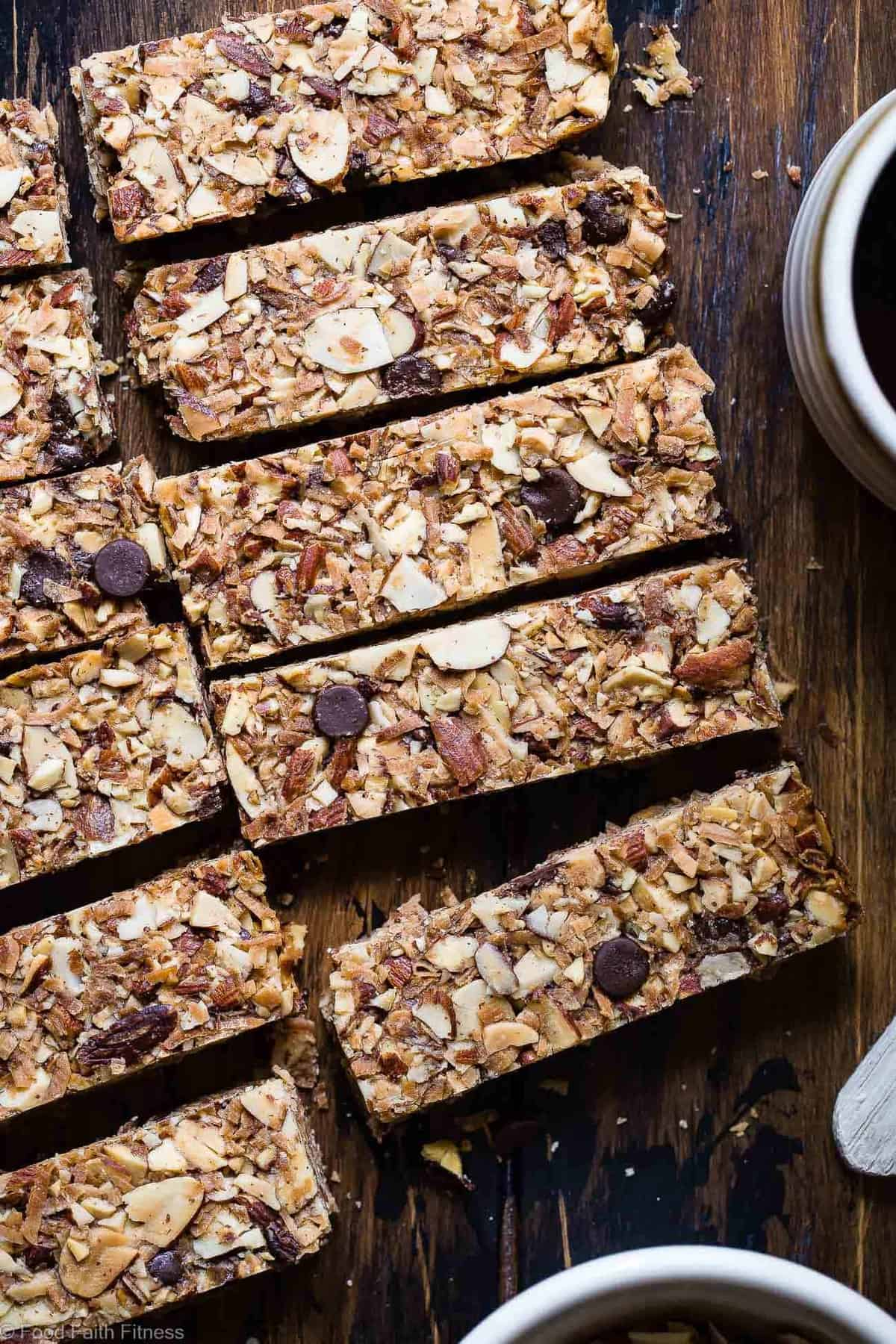 Keto Almond Joy Sugar Free Granola Bars - This low carb granola bars recipe is only 7 simple ingredients and tastes like an Almond Joy! Kids or adults will LOVE these healthy homemade granola bars and they're portable and freeze great too! | #Foodfaithfitness | #Keto #Glutenfree #Paleo #Dairyfree #Sugarfree