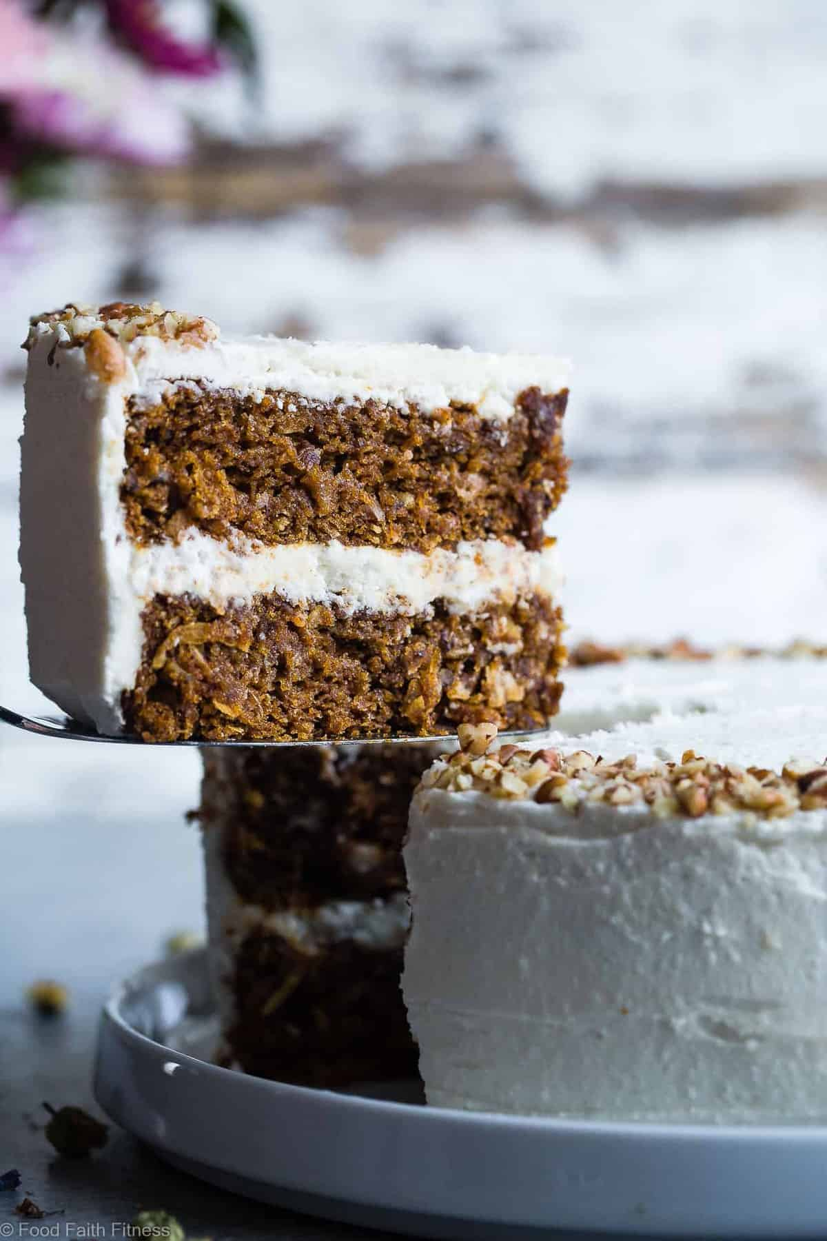 The BEST Gluten Free Vegan Carrot Cake -This one bowl, healthy carrot cake is SO moist and tender, you'll never know it's plant based, made without eggs and is gluten/grain/dairy/refined sugar free! Perfect for Easter! | #Foodfaitfitness | #Vegan #Easter #Glutenfree #DairyFree #Carrotcake